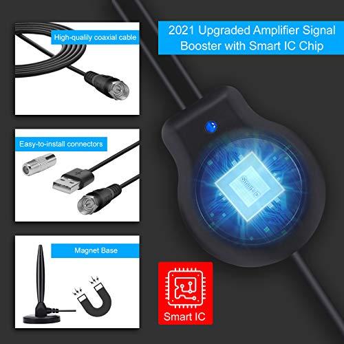Antena TV Interior con Amplificador Digital de Alta definición de 150 Millas,con Amplificador de señal Inteligente con Base magnética Estable para Canales de TV 1080P 4K de ATSC, DVB-T, DMB-T ect