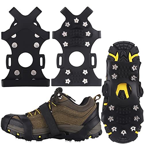 Winline Crampones,Crampones de Marcha Nieve Hielo Grips Crampones 11 Tacos Picos Garras de Zapatos Cadenas de Nieve para Tracción en Hielo Nieve y Deportes Fácil de Poner (L)
