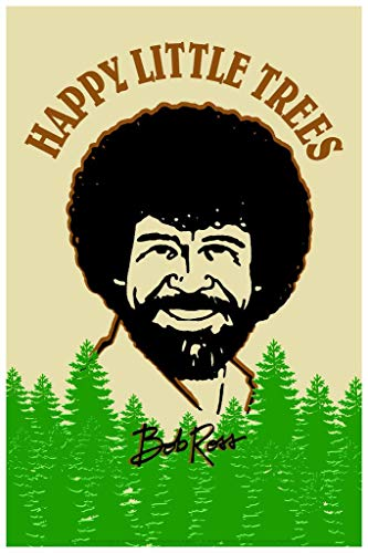 Bob Ross Happy Little Trees Retro Art Cool Wall Decor Art Print Poster 24x36