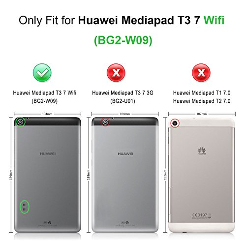INFILAND Huawei MediaPad T3 7 WiFi Hülle Case, Ultra Dünn Superleicht Ständer Cover Schutzhülle Tasche für Huawei MediaPad T3 7 WiFi Tablet(NOT for Huawei MediaPad T3 7 LTE)(Schwarz) - 2