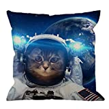 HGOD DESIGNS Cat Throw Pillow Cover Decorative Astronaut Cat Nebula Galaxy Outer Space Throw Pillow Cotton Linen Square Pillow Case for Men/Women/18x18 inch Blue Black and White