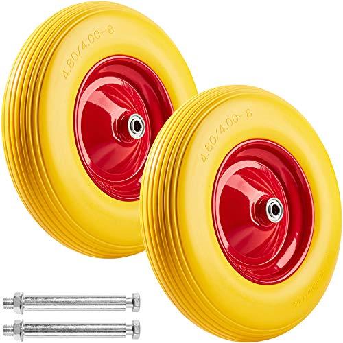 tectake 2x Pannensicheres Schubkarrenrad aus Vollgummi | Reifen für Schubkarren auf Stahlfelge inkl. Achse | bis 150 kg belastbar