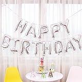 JZK Sliber Buchstaben Happy Birthday Folienballons, Alles Gute zum Geburtstag Luftballons Banner Bunting Dekoration für Kinder Party Geburtstag Party Babyparty