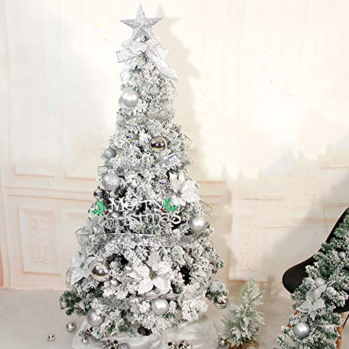 HYXL À Neige Floquée Sapin De Noël Artificiel,floqué Neige Arbre De Noël Épinette Articulé Décoration Arbre De Noël pour Intérieur,Sapin-de l'argent Diamètre180cm(71inch)