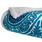 Lavish Home Printed Coral Soft Fleece Sherpa Throw Blanket, Blue