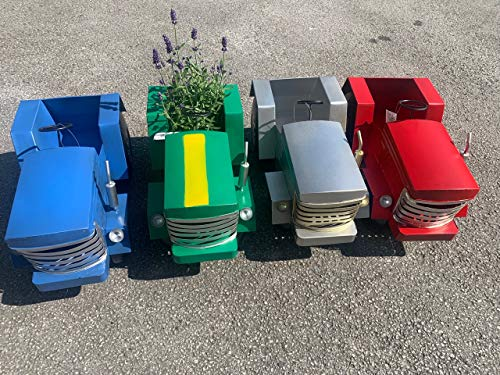 Pricecrunchers Vintage Tractor | Design Planters | Tractor Design | Unique & Hand Painted | Great Gift | Pack of 4 | Grey
