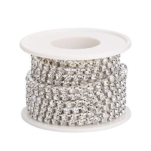 Demiawaking Haîne de Griffe de Chaîne de Strass en Cristal étroitement pour la Couture d'artisanat de Bijoux 5yard / roll Chaîne Blanche AB Accessoire Art d'Artisanat (Argent)