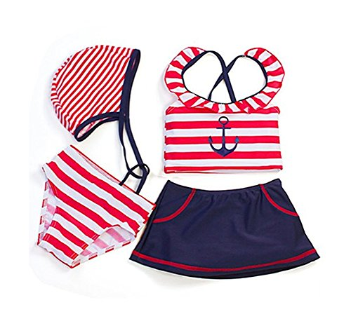 Styles I Love Beach Baby Girl Sailor Anchor Striped 4-pc Swimsuit (5-6 Years) Red