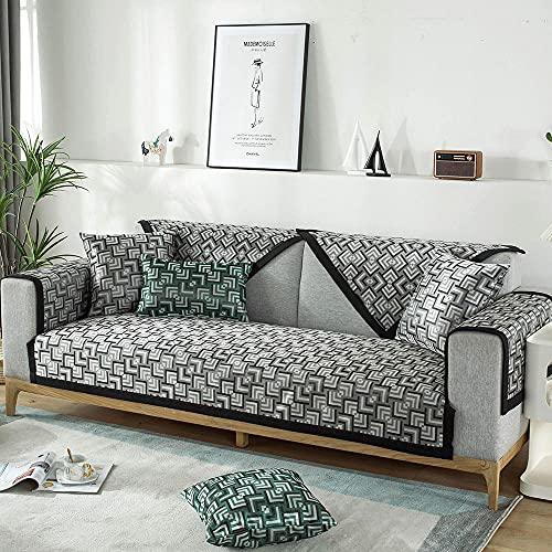 YUTJK Sommer EIS Seidenmatte Sofa Kissen,Für Haustiere Couch Sofa Überwürfe,Anti-rutsch Übergroßen Spitze Couch Sofa Überwürfe Couch-Shield,Sofaschoner,Grau_70×120cm