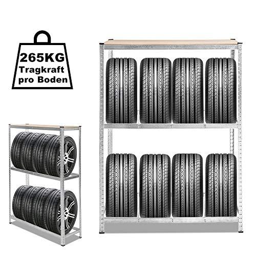 Hengda 1x Reifenregal Reifenständer verzinkt Lagerregal Robust und haltbar, 120 x 40 x 180 cm, Höhe des lässt sich verstellen