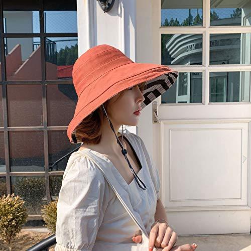 H/A Tom-EU Chapeau de soleil pour femme avec ruban adhésif double face Style coréen Orange Taille M