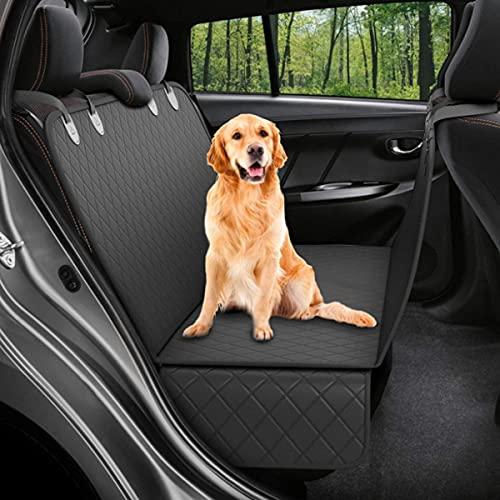 BVVB Hunderücksitzbezug Schutz wasserdichte Kratzfeste rutschfeste Hängematte für Hunde Rücksitzschutz gegen Schmutz und Tierfell Langlebige Haustiersitzbezüge für Autos & SUVs(Color:Black)
