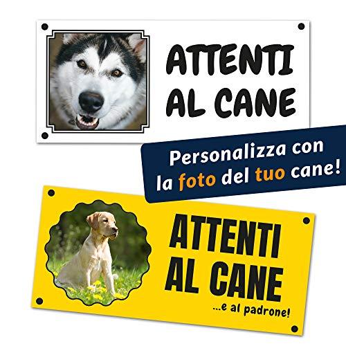 Cartello ATTENTI AL CANE personalizzabile con la foto del proprio cane, stampato su vinile (Cartello Forex 250x120mm, Testo standard)