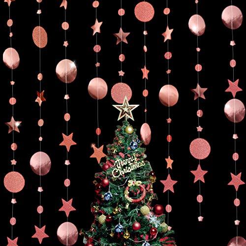 4 PCS Scintillante Oro Rosa Stelle e Rotondo Ghirlanda,Glitter Oro Rosa Cerchio DOT Ghirlanda,Stelle Ghirlande di Carta Decorazione per Feste, Compleanni, Matrimoni, Natale