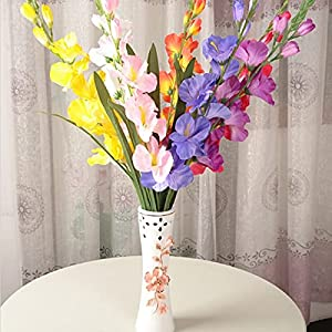 Silk Flower Arrangements Artificial and Dried Flower Artificial Silk Fabric Gladiolus Fresh Simulation Flowers for Home Ornament Wedding Decoration Supplies - ( Color: Leave Message )