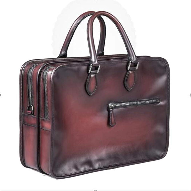 TMD Leather Co. Herren-Tasche, Große Schultertasche mit doppelter Schublade aus braunem Leder-Aktentasche B07PZ4YTFJ