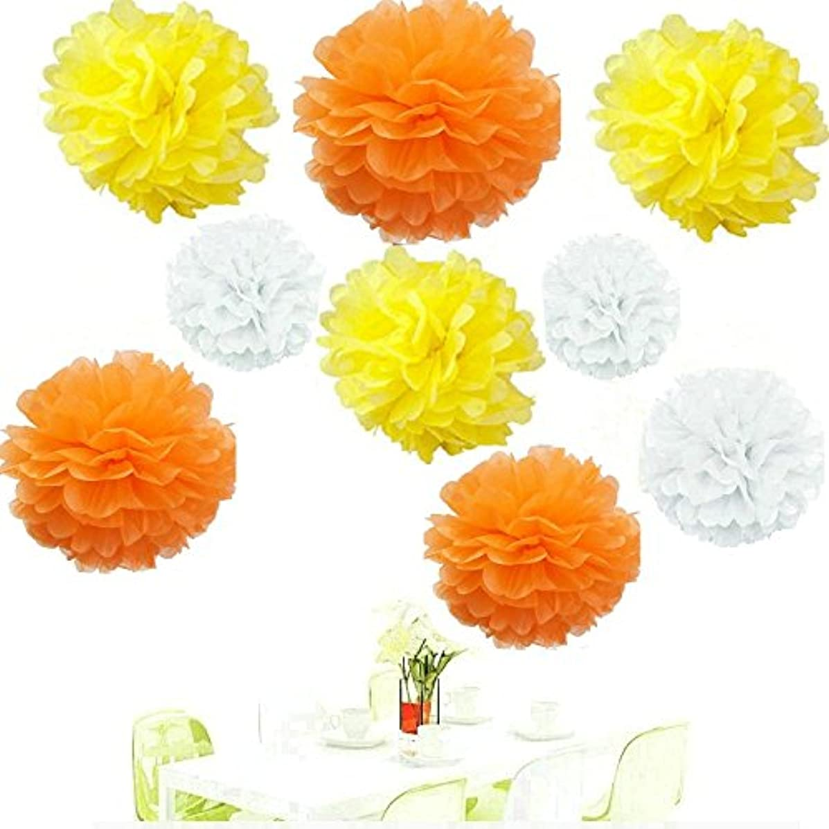 Since ? 18pcs Mixed White Orange Yellow Tissue Papper Pom Poms Pompoms Paper Flower Balls Wedding Birthday Party Decoration