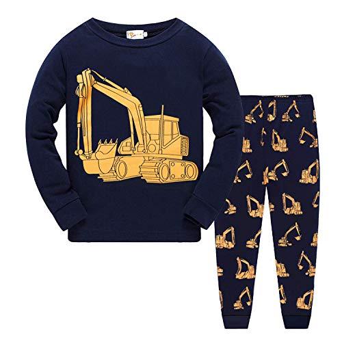 Kleinkind Schlafanzug Jungen Langarm Baumwolle Kinder Bekleidungssets Nachtwäsche Bagger Flugzeug Zweiteiliger lang Hemden und Hosen, Bagger, 116 (HerstellerGröße: 130)
