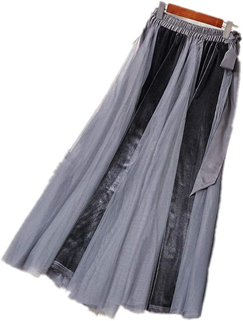 shaobeiq Women's Spring and Summer New Elastic Waist tie with Large mesh Gauze Slim Skirt