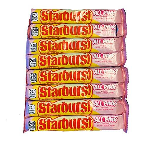 Starburst All Pink Fruit Chews | Starburst Pink Candy | Starburst Strawberry Chews | 2.07 oz Tubes | Pack of 8 Tubes