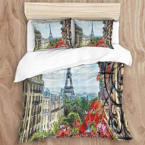 JIUHUASHAN Bedding Set 3D Print for Duvet Cover Set 2 Pillowcases,City Street in Paris Town Traffic Trees Downtown Urban Life Exterior Monument, Queen Size