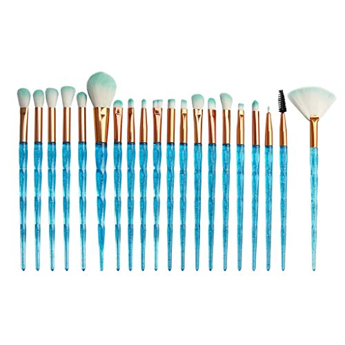 WOZOW 20 Pcs Maquillage Fond De Teint Yeux Sourcils Eyeliner Blush Pinceaux Cosmétique Anticernes(A)