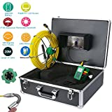 GAMWATER Pipe Inspection Video Camera, 20M IP68 Waterproof Drain Pipe Sewer Inspection Camera System 7' LCD 1000 TVL Camera with 6W LED Lights