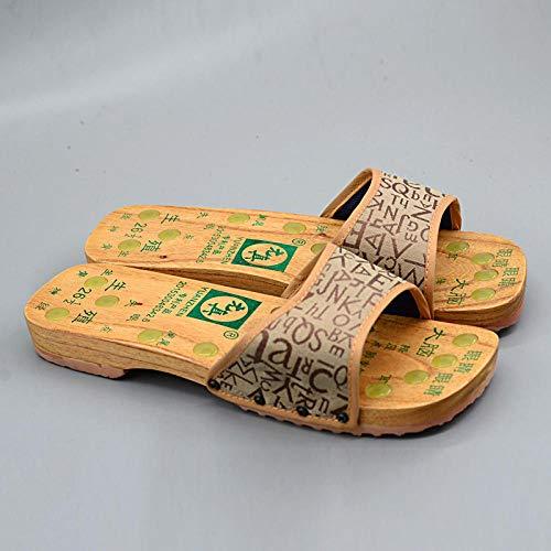 Ginsenget Zapatillas Surfista,Zapatillas Madera Masaje Acupoint,Zuecos hogar,Zapatos Madera Antideslizantes,Sandalias Madera tacón Plano,Caqui,41,Zapatillas baño Antideslizantes Secado rápido