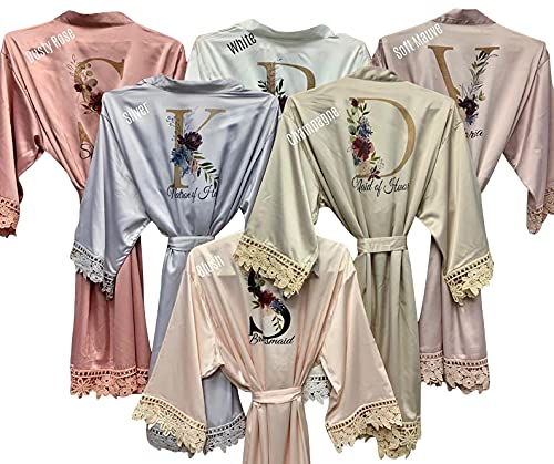 Personalized Bridesmaid Robes Lace Bridal Robe Customized Gift Floral...