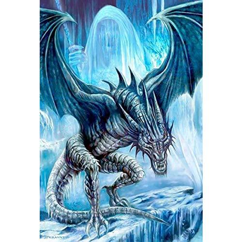 ZXXGA Kit De Pintura 5D,Dragón en el Iceberg,Bordado de Punto de Cruz Manualidades Suministros de Manualidades para Sala de Estar 30x45cm