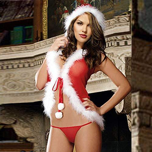 CZXN Erotische Kostüme für Frauen Erotische Dessous-Sets für Frauen Neue erotische Dessous Damen sexy Bogen erotische Dessous Weihnachtsanzug Unterwäsche rot Pyjama bizarr rot