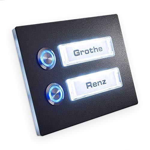 Türklingel Anthrazit beleuchtet - 2 x LED-Klingeltaster - Mehrfamilien-Klingel - RENZ Namensschild austauschbar - RLA7016 - Maße: 105 x 140 mm