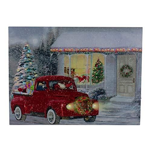 Northlight LED Fiber Optic Retro Red Truck Christmas Wall Art 11.75' x 15.75'