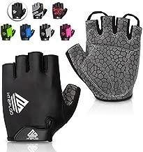 HTZPLOO Bike Gloves Cycling Gloves Mountain Bike Gloves for Men with Anti-Slip Shock-Absorbing Pad,Light Weight,Nice Fit,Half Finger Biking Gloves (Black,Medium)