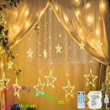 Hezbjiti 12 Star Curtain Lights, 12 Modes 138 LEDs Window Curtain Lights, Sync with Music & Timer Star String Lights for Indoor Outdoor Christmas Halloween Bedroom Home Garden Wedding Party Backdrop