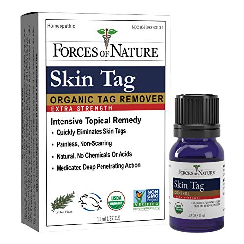 Forces of Nature -Natural, Organic Skin Tag Extra Strength Remover (11ml) Non GMO, No Harmful Chemicals -Safe, Pain and Scar Free, Leaving Skin Smooth and Healthy