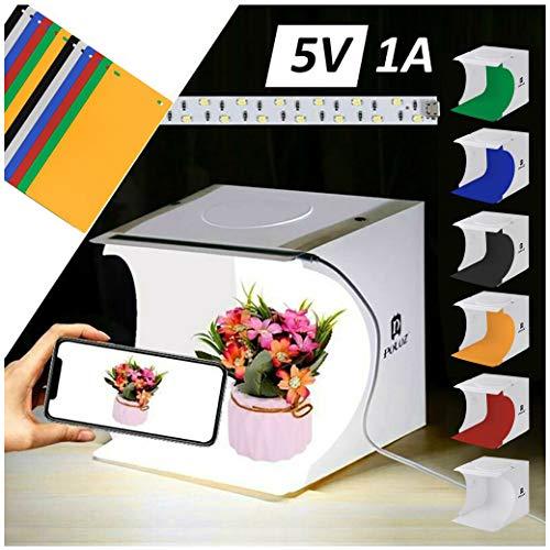 VNEIRW Lichtzelt mit Beleuchtung Fotostudio Set, Foto Zelte 22 x 23 x 24 cm, Mini LED Lichtbox Kit, Faltbare Studiobox, Fotografie Leuchtkasten mit 12 Hintergrund (A)