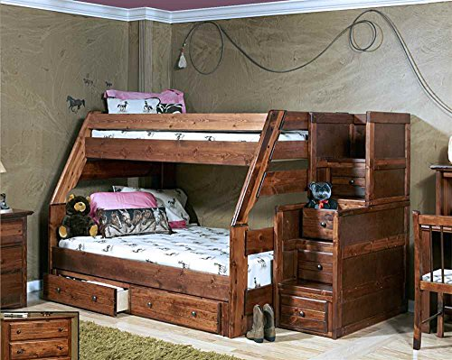 Twin Over Full Bunk Bed with Stairway Chest with Storage