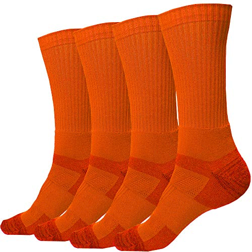 2 Pack of Men's Premium Athletic Sports Team Crew Socks for Football, Basketball and Lacrosse (Large (Shoe Size 9-13), Orange)
