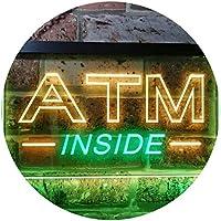 ATM Inside Open Shop Lure Dual Color LED看板 ネオンプレート サイン 標識 緑色 + 黄色 600 x 400mm st6s64-i0565-gy