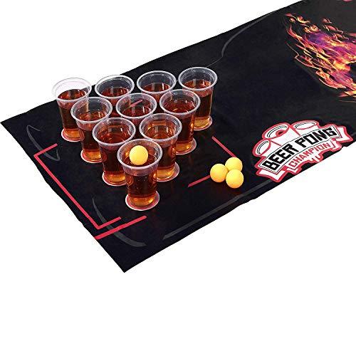 Premium Bier Pong Kit 180x60cm Waterdichte en scheurvrije Mat Grote Bekers 4 Bier Pong Ballen Drinken
