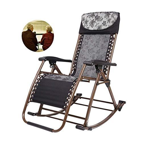 WZF Zero Gravity Patio Lounger Chair Klappstuhl Outdoor Garden Recliners Bequemer Schaukelstuhl für schwere Leute Beach Camping Lawn Support 200kg (Farbe: Schwarz)