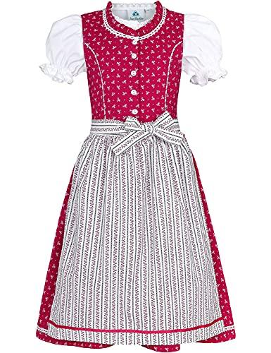 Isar-Trachten Dzieci Dirndl Julienne — różowy — 3-częściowy sukienka bluzka fartuch dla dziewczynek Oktoberfest wioło kościoła wesele wycieczka niedzielna, Rosa, 104 cm