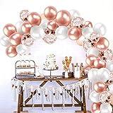 132Pcs Set Rosa oro ghirlanda palloncino Kit arco palloncini Rosa oro e bianca Confetti palloncini lattice riempito Con palloncino nastro per compleanno sfondo di nozze Decorazione per feste