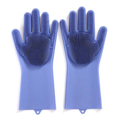 /Gants de lavage de la vaisselle/ /Gants en caoutchouc /Bleu /Coton doubl/é Plat Gants/ Lot de 2/paires de gants de m/énage/ gants de cuisine/