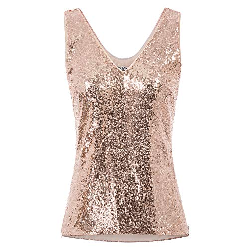 GRACE KARIN Damen Pailletten Tank Top Pailletten verziert Sparkle Trägershirt-Weste Tops Party Sexy Bluse L Rose Gold CL011080-2