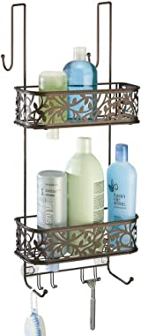 mDesign Metal Over Door Bathroom Tub & Shower Caddy, Hanging Storage Organizer Center - Holds Shampoo, Conditioner, Body Wash