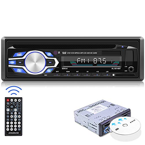 CAMECHO Single Din Car Stereo Bluetooth 1Din Car DVD Player with Hands Free Calling Support CD/MP3/FLAC/USB/SD/AUX/FM Truck Radio with Remote Control