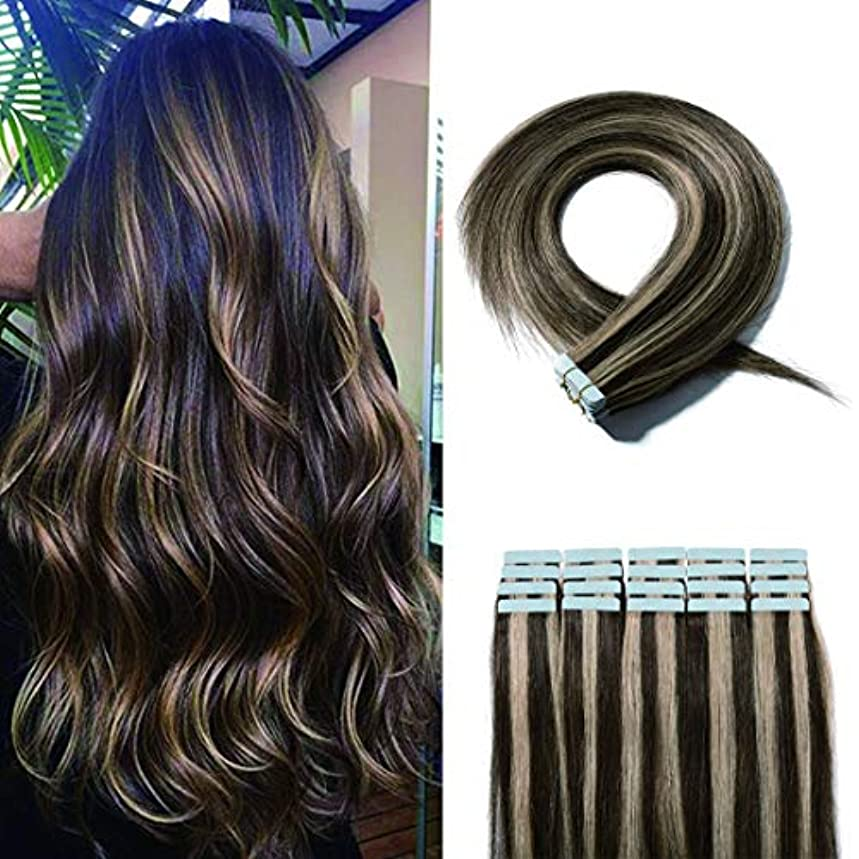 40 Pieces Balayage Tape in Hair Extensions Human Hair Seamless Skin Weft Invisible Tape Hair Extensions Highlight Two Tone Straight Double Sided #4P27 Medium Brown mix Dark Blonde 12 inches 80g