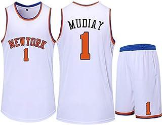 Jersey Set New York Knicks 1# Emmanuel Mudiay Basketball Jersey Sleeveless Vest Sports Shorts Sweatshirt Men's Fitness Competition Casual Set,White,2XS